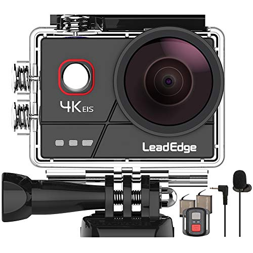 LeadEdge A20 Action Cam 4K/30FPS 1080P/60FPS 20MP Unterwasserkamera Externes Mikrofon WiFi EIS Anti-Shake Helmkamera 40M 2,0 IPS 170 ° Weitwinkel Fernbedienung 2x1050mAh Akkus und Zubehör Kits
