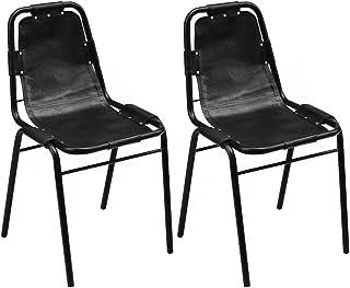 GOTOTOP – Juego de 2 sillas de comedor de piel y marco de acero, sillas de cocina, modernas, cómodas y cómodas, color negro