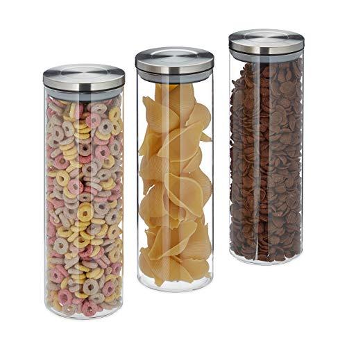 Relaxdays Vorratsglas 3er Set, luftdicht, Edelstahl Deckel, für Pasta, Müsli & Reis, 1,8 l Küchenbehälter, transparent