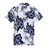 Palm Wave Men's Hawaiian Shirt Aloha Shirt L White with Navy Floral