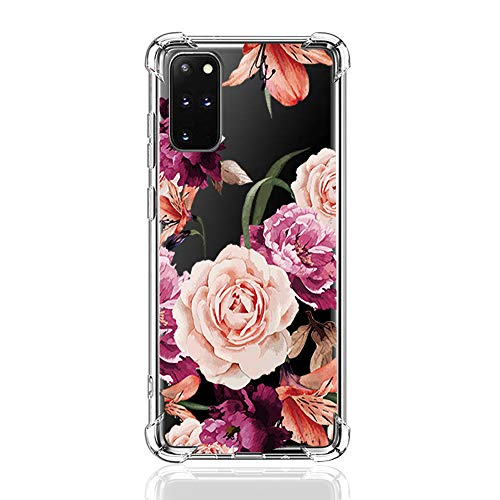 Jkmk Samsung Galaxy S20 Plus Hülle TPU Flower Hülle Silikon Ultra. dünn Transparent Antikollision Handyhülle Durchsichtige Rückschale TPU Schutzhülle für Galaxy S20 Plus Case Mädchen Geschenk (34)
