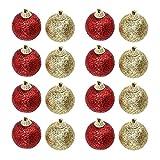 Angoily 32 Piezas de Adornos de Bola de Navidad Brillante para La Decoración del Árbol de Navidad Rojo Y Dorado Irrompible Adornos de Navidad Juego de Bolas para La Decoración del Árbol