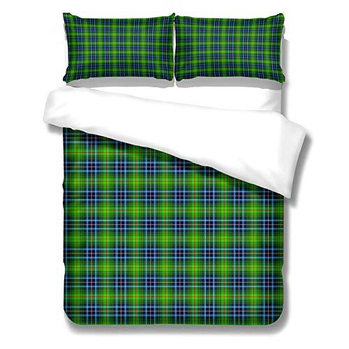 CCBAO Grüner, Blauer Und Gelber Bettbezug 3-Teiliges Set Themenbettwäsche Für...