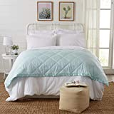 Lightweight Twin Goose Down Alternative Blanket with Satin Trim. Romana Collection by Home Fashion Designs, Pale Blue