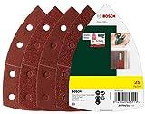 Bosch Set da 25 Pezzi di fogli abrasivi, vari materiali, dimensioni grana 40/80/120/180, 11 fori, accessorio levigatrice palmare