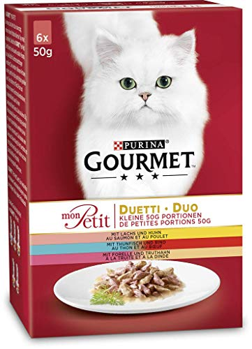 Purina GOURMET Mon Petit kattenvoer vlees en vis, 8-pack (8 x 6 x 50 g)