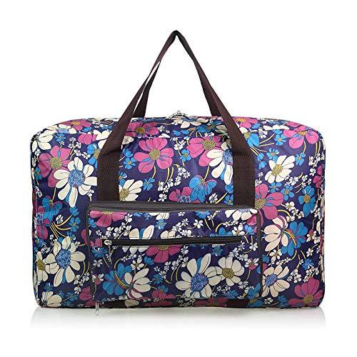 Fslt Men's and women's waterproof Oxford cloth fashion travel bag large capacity foldable handbag weekend luggage shoulder bag duffel bag-Flora