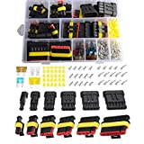 Imentha 14 sets 1-6 Pin Car Motorcycle Waterproof Electrical Wire Connector Automotive Terminals Kit Male Female Plug Blade Fuses