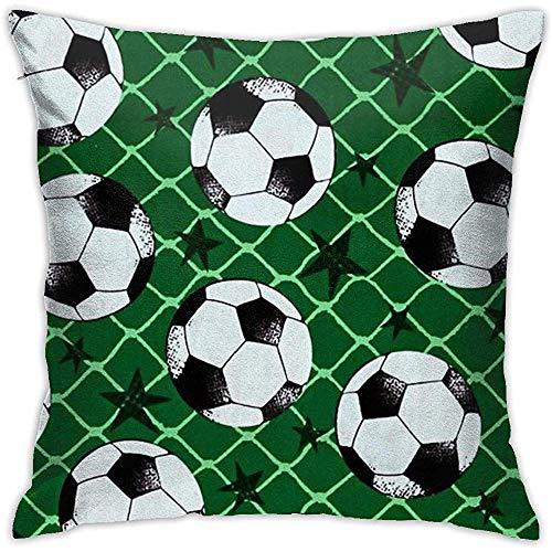 Gjiesh Funda de cojín de fútbol y Red Throw Pillow Case Square Diseño Decorativo de Doble Lado 45x45cm Family Interior Sofa Car