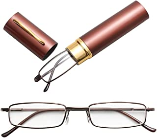 JINJIN Reading Glasses Metal Spring Foot Portable Presbyopic Glasses with Tube Case +4.00D(Black) (Color : Brown)