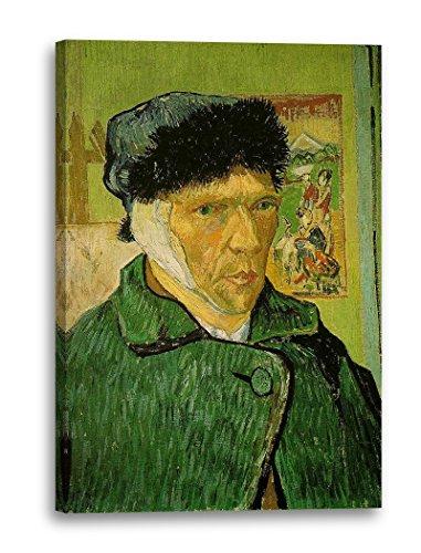 Printed Paintings Stampa su Tela (80x120cm): Vincent Van Gogh - Autoritratto con Orecchio bendato