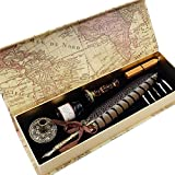GC QUILL Antique Quill Pen Set Unique Half-Patterned Feather Pen Set with 6 Nibs 1 Bottle of Ink 1 Wax Seal Stamp 1 Pen Holder 1 Sealing Wax LL-149