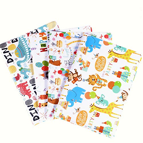 Funmo 12 Foglio Di Carta Da Regalo,70 X 50 cm Confezione da Carta da Regalo per bambini,Per Tutte Le Occasioni- Compleanno, Anniversari, Capodanno Matrimoni e Natale