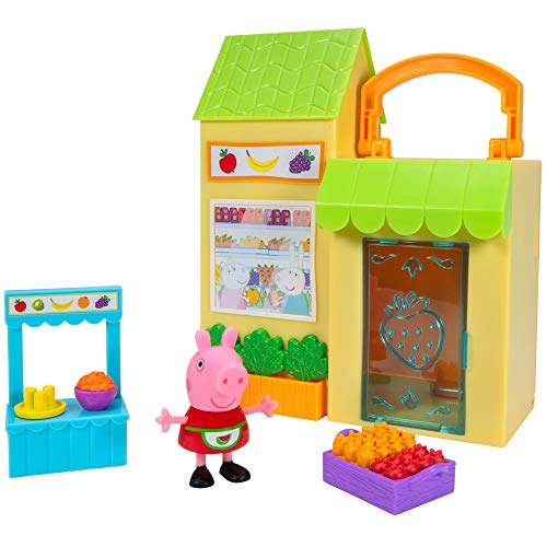 Peppa Wutz PEP0730 Peppa - Juego de Mesa con Cesta de Frutas y Verduras y 1 Figura Exclusiva de Peppa Pig, para niños a Partir de 2 años