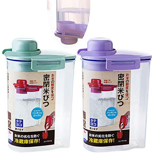 Contenedores de cereales de arroz a granel, dispensador de alimentos con tapa, organizador, 2 recipientes con cierre hermético, tapa atornillable en cualquier parte posterior, color verde y morado