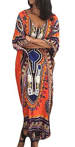 Damen Kaftan Maxikleid Young Fashion Strandkleid Vintage Fledermausärmel Floral Print Lang Kleider Batik Hochwertig Übergröße Boho Tunika Kaftankleid Sommerkleider Geschenke Für Frauen