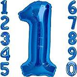 Globo 1er Cumpleaños Número 1 Azul Gigante, Globo XXL 100 cm. Decoración 1er Cumpleaños para Niño. Aire o Helio.