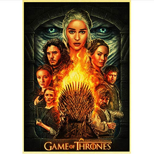qiaolezi Print On Canvas Game of Thrones Season 8 Poster 2019 New Movie Vintage Posters Art Retro Wall Pictures For Living Room Decor A987 50×70CM Without Frame