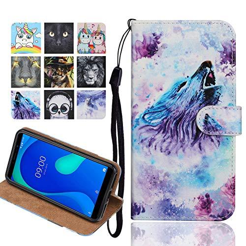 Langlee Kompatibel mit Samsung Galaxy A10 Hülle, PU Ledercase Flip Schutzhülle Tasche Magnetverschluss Handyhülle Standfunktion (Muster E-5)
