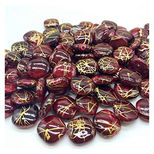 WESET 50 unids/Lote 12 mm Perlas de acrílico Espaciador Suelta Perlas para la joyería Que Hace Pendiente de la Pulsera (Color : 01)