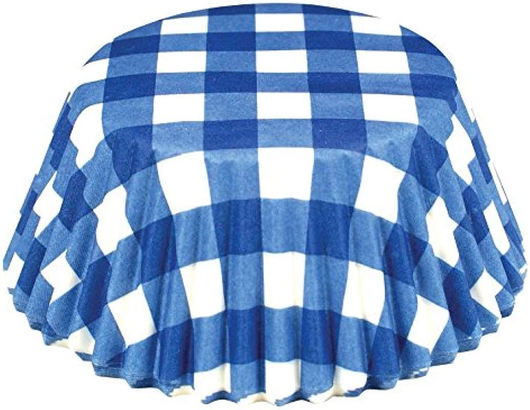 Fox Run 6918 Gingham Disposable Bake Cups 3 25 X 3 25 X 1 25 Inches Blue