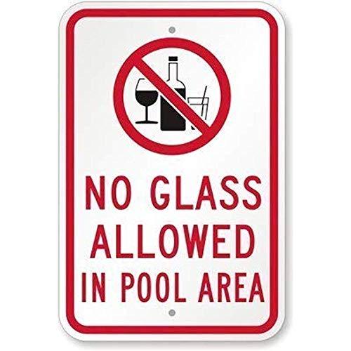 """990 Metallschild """"MIKLE No Glass Allowed in Pool Area"""", Retro-Stil, lichtecht"""