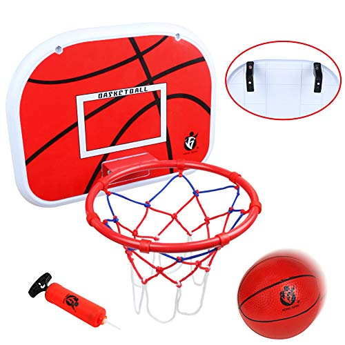 "jerryvon Basketball Hoop Over The Door(15""x11.5"") Wall Basketball Goal Indoor Rim Combo with Ball Pump Set for Toddler Kids Child Youth Boys Girls Teenagers Party Family Game"