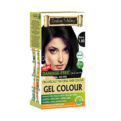 Indus Valley Organically Natural Gel Permanent Hair Color Black 1.0 Gray Coverage Hair Dye Ammonia Free