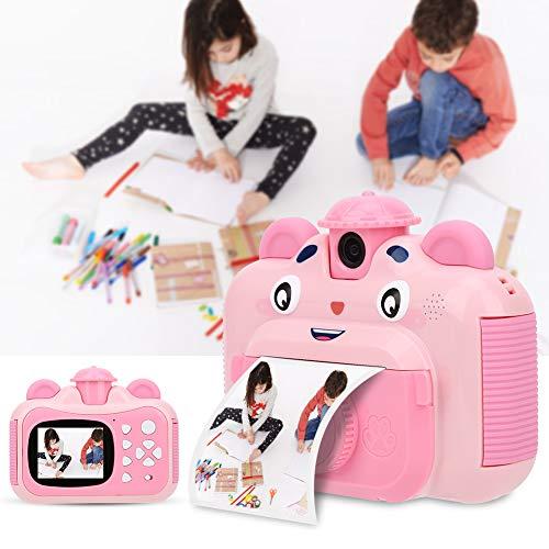 Kinderkamera Print Kamera für Kinder Tragbare Einfache Druckkamera mit 2,4 Zoll Buntem Bildschirm Sofortbildkamera mit USB-Datenkabel und Druckpapier für Kinder im Alter von 4 bis 11 Jahren (Pink)