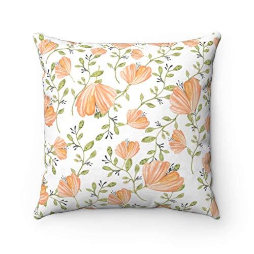 Promini Throw Pillow Cover, Peach Orange Green, Floral Botanical, Modern Square Decorative Accent Pillowcase Case Cushion with Hidden Zipper Closure For Sofa Home Decor 20 x 20 Inches