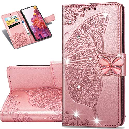 Samsung Galaxy S20 FE 5G Wallet Case,ZYZX Butterfly Embossing PU Leather Flip Phone Case Credit Cards Slot and Stand Shockproof Dual Magnet Cover for Samsung Galaxy S20 FE (Rhinestone Rose Gold) HZD