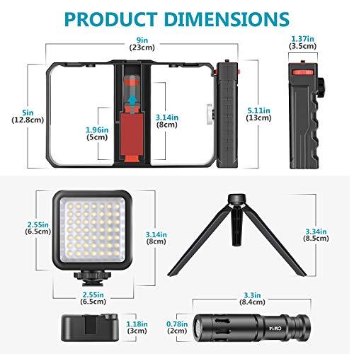 Neewer Smartphone Kamera Video Mikrofon Rig Set, Telefon Video Stabilisator Griff mit Video Mikrofon, Mini LED Video Licht, Mini Tischstativ für Vlogging, Tutorials, YouTube Videos
