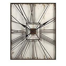 CC Home Furnishings 39.25 Guinevere Off White Distressed Roman Numeral Wall Clock