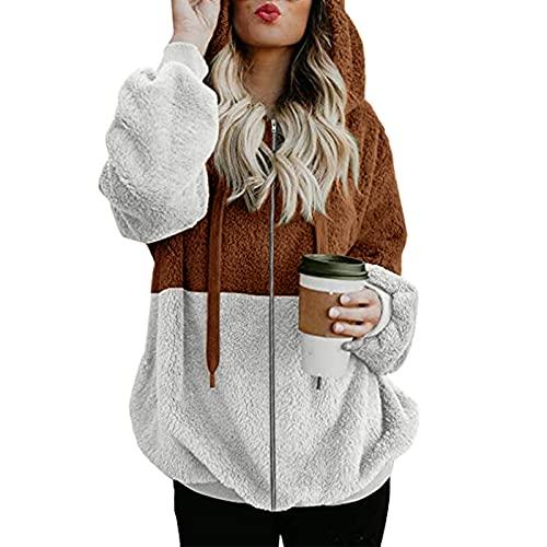 FMYONF Sudadera con capucha para mujer, elegante bloque de colores, de forro polar de peluche, de manga larga, monocolor, para otoño e invierno, marrón, XXXXL