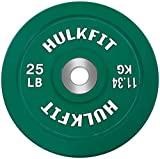 HulkFit Color Coded Olympic 2-Inch Rubber Bumper Plate with Steel Hub for...