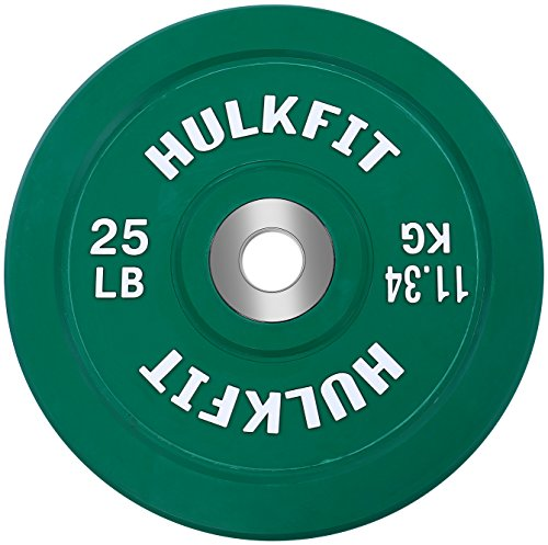 HulkFit Color Coded Olympic 2-Inch Rubber Bumper Plate with Steel Hub for Strength Training, Weightlifting and Crossfit, Single (25 Pounds)