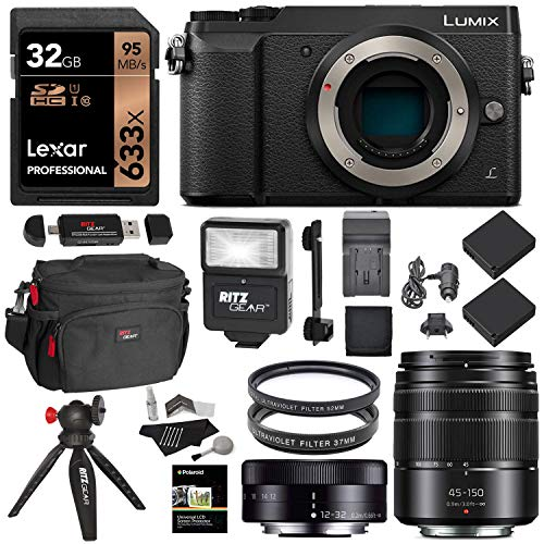Panasonic GX85 Mirrorless Micro Four Thirds Digital Camera with 12-32mm, 45-150mm Lenses, 32GB Memory Card, Tabletop Tripod, Filters, Slave Flash...