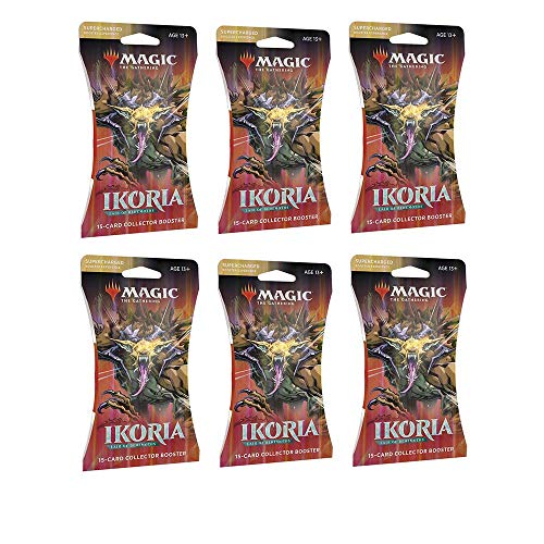 6 Packs Magic: The Gathering Sleeved Collector Booster Pack MTG Ikoria Lair of Behemoths Size Card Sleeves Individual Pack
