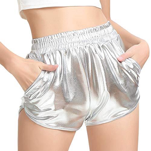 MAKARTHY Women's Metallic Shorts Elastic Waist Shiny Sparkly Rave Pants (Small, Silver)