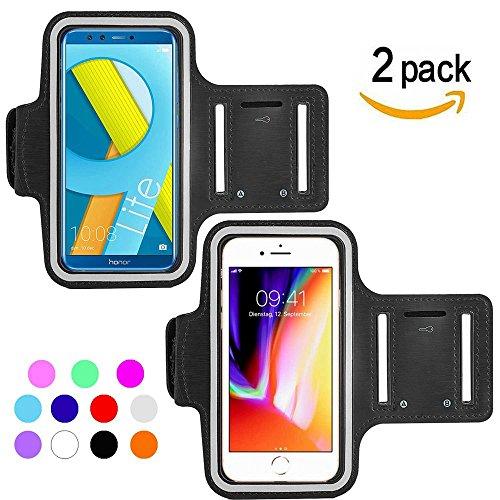 Ycloud [2 Pack] Wasserdicht Sportarmband für Cubot Rainbow 2, Sony Xperia XZ1, Blackview A7, Wiko Tommy 2 Maximale Größe bis 5.5Zoll -(Schwarz+Schwarz)