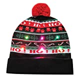 Sombrero de Navidad Gorra de Punto de LED Luz Sombrero de Patrón de Papá Noel Reno Monigote de Nieve Oso Favores de Fiesta para Adultos y Niños Yvelands C