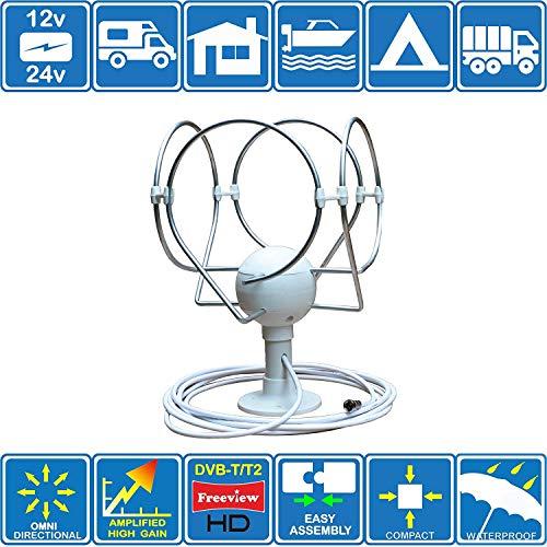 KORONA TS Lite - Antena DE TV FM Digital Omni Directa con Estructura en Amplificador para Motorhome Boat Caravan Camper Truck Adecuado para DVB-T y DVB-T2