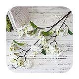 Fun-boutique 95 Cm Fleur De Cerisier Arbre Soie Fleurs Artificielles Grande Branche Pomme Fausses Fleurs Fausses Fleurs Maison Mariage Printemps Décoration-White Flower-