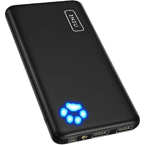 INIU Power Bank, Ultra-Slim Dual 3A High-Speed Portable Charger, 10000mAh USB C Input & Flashlight External Phone Battery Pack for iPhone Xs X 8 Plus Samsung S10 Google LG iPad etc. [2020 Upgrade]