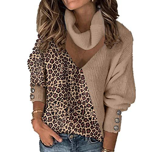 N\P Damen Pullover Strickpullover Leopard Patchwork Rollkragenpullover Frühling Knopf Lange Laterne Gr. XXX-Large, khaki