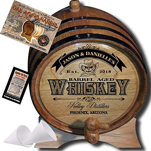 Personalized American Oak Whiskey Aging Barrel (103) - Custom Engraved Barrel From Skeeter's Reserve Outlaw Gear - MADE BY American Oak Barrel - (Natural Oak, Black Hoops, 2 Liter)