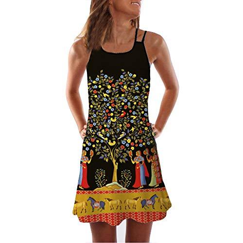 riou Vestidos Mujer Verano Vintage sin Mangas Mini Vestido con Estampado Floral 3D Sexys Y Elegantes Playa niña Vestido de Fiesta Vestir Ropa Falda Chaleco Camisetas