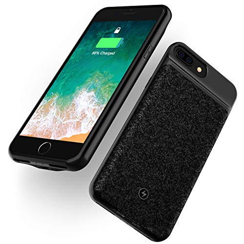 "WELUV Qi Hülle Akku Case Für iPhone 6plus/6splus/7plus/8plus Ladehülle Batterie Case Ladehuelle 4000mAh Ultra-Dünn QI Case Drahtlos Laden Wireless Case Schutzhülle Schwarz 5.5""Zoll"