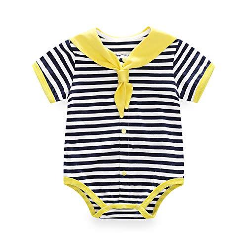 Body para bebé de manga corta para recién nacido, con pajarita, mono azul marino y amarillo, 9-12 meses/80
