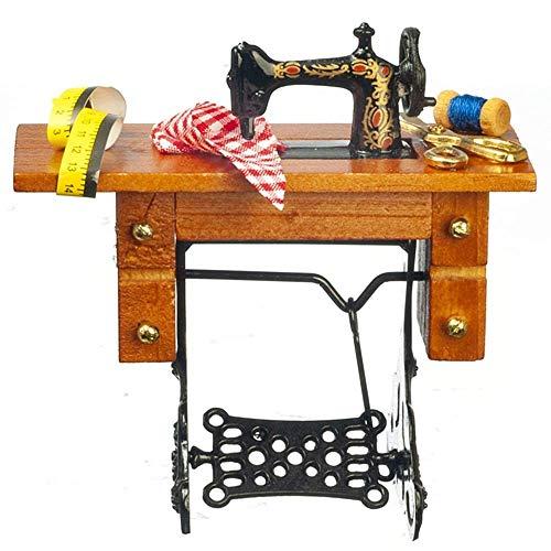Casa de Muñecas Pedal Máquina de Coser Miniatura Antiguo Modistas Muebles